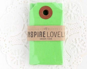 20 Mini Gift Tags - Green Blank Tags