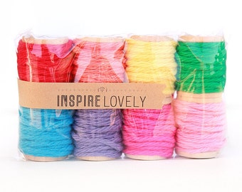 24 yards Party Mix Bakers Cotton Twine hand wound on mini wooden spools