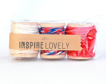 9 yards Postal Medley Cotton Twine Mix hand wound on mini wooden spools