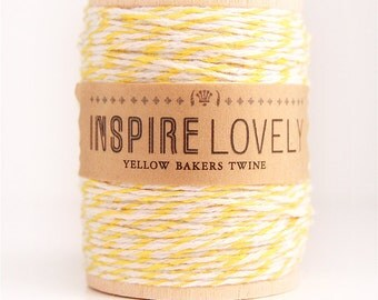 SALE - 50 yards Yellow and White Bakers Twine hand wound on a wooden spool