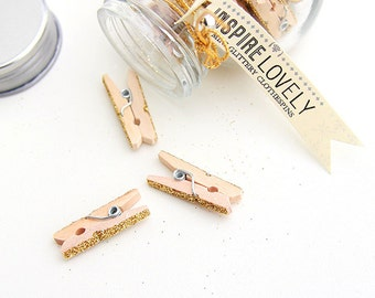 25 Lovely Glittery Mini Wooden Clothespins & Glass Jar - Gold