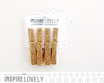 Lovely Glittery Wooden Clothespins - Gold