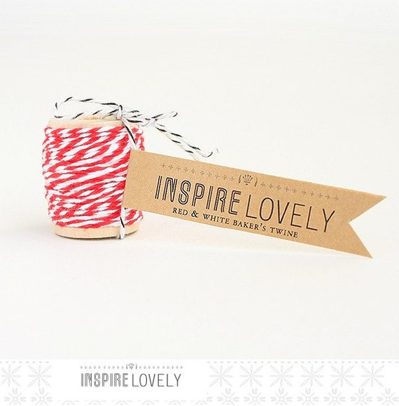 10 yards Red and White Bakers Twine hand wound on a cute mini wooden spool