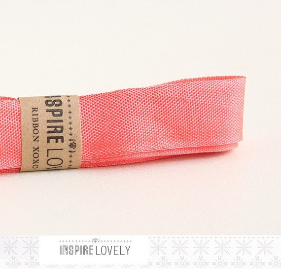 Vintage inspired Seam Binding ribbon xoxo- Melon