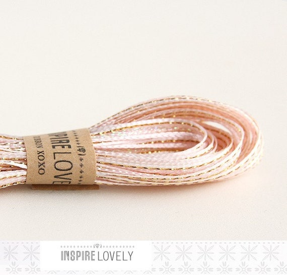 50 yards Dainty Pale Pink Ribbon with gold detail xoxo