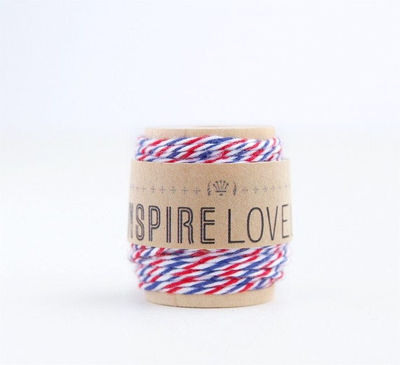 10 yards Air Mail Bakers Twine hand wound on a cute mini wooden spool