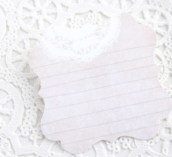 Vintage Paper and sewing lines Journaling Tag - Doily