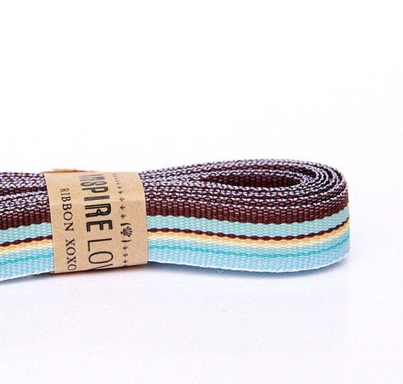 Blue & Brown Stripe Grosgrain Ribbon xoxo
