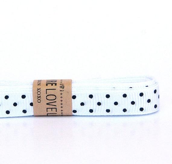 Black and White Polka Dot Grosgrain Ribbon xoxo