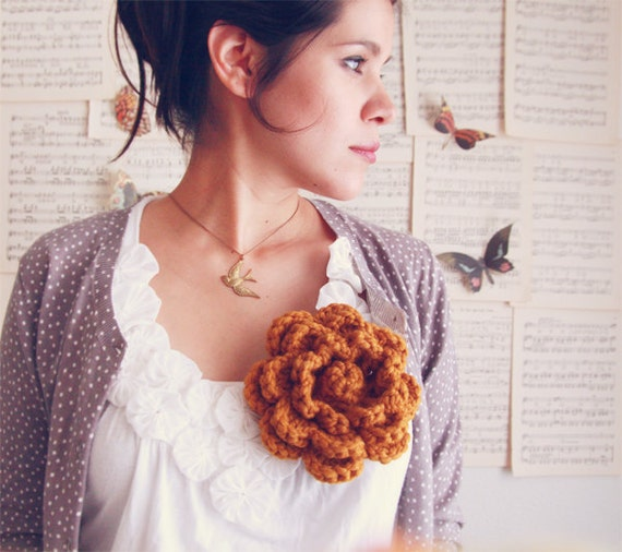 Handmade Crochet Flower pin - Cozy Fall