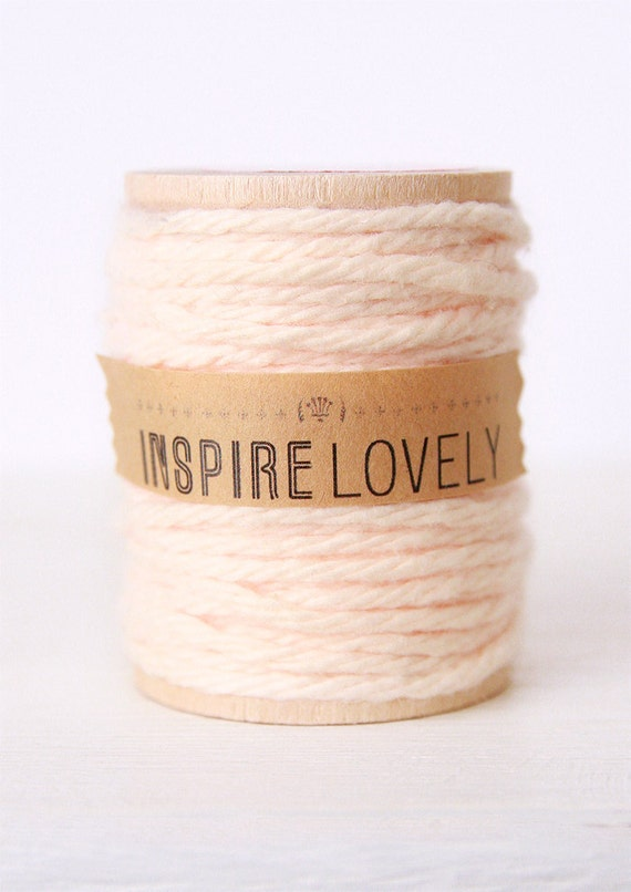 10 yards Blush Cotton Twine hand wound on a wooden spool