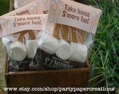 S'Mores Party Favor Bag Topper - Backyard Campout Thank You Tag Instant Download