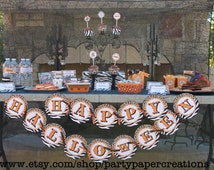 INSTANT DOWNLOAD Halloween Party Printable Decorations - DIY Happy Halloween Leopard and Zebra Print Party Printables Tablescape