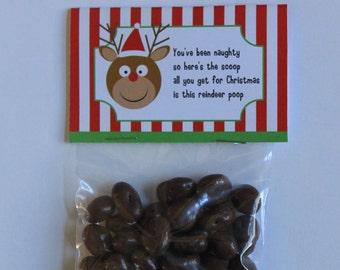 PRINTABLE Reindeer Poop Party Favor Bag Stocking Stuffer Tag Topper Instant Download