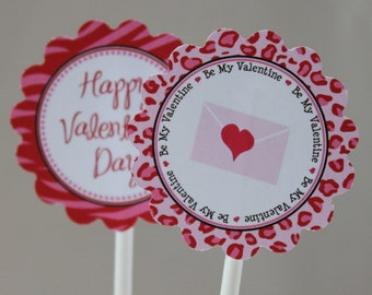 INSTANT DOWNLOAD Wild Valentine Cupcake Toppers Wrappers and Water Bottle Wraps - Red Pink Animal Prints