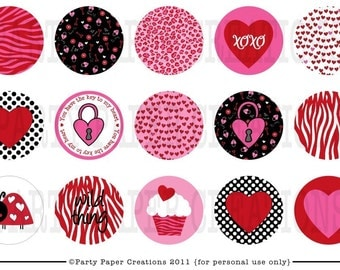 INSTANT DOWNLOAD Printable Digital Valentine Animal Print Bottlecap Collage Sheet DIY