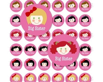 Big Sister Little Sister Sibling Bottlecap Images Collage Sheet for Jewelry and Scrapbooking COMMERCIAL and PERSONAL USE