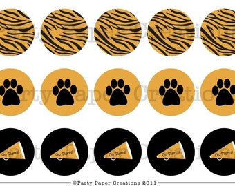 Tiger Team Spirit Sports Theme Bottlecap Digital Images Circle Collage 4x6
