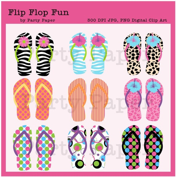 INSTANT DOWNLOAD Flip Flop Digital Scrapbook Clipart for Personal and Commercial Use
