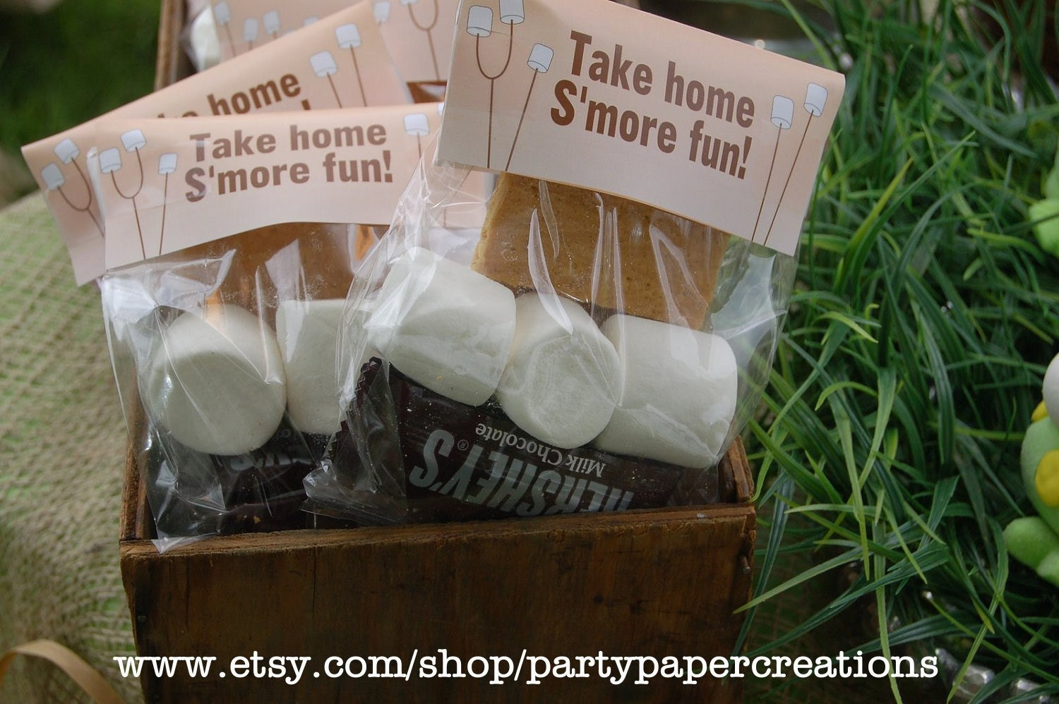 Mores Party Favor Bag Topper Backyard by partypapercreations