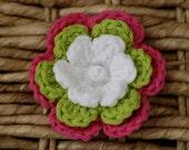 Little Girl Flower Hair Clip, Crochet Flower Hair Clip - Hot Pink, White, Lime Green