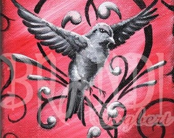 """Black and White Sparrow w/Red- PRINT 8""""x10"""""""