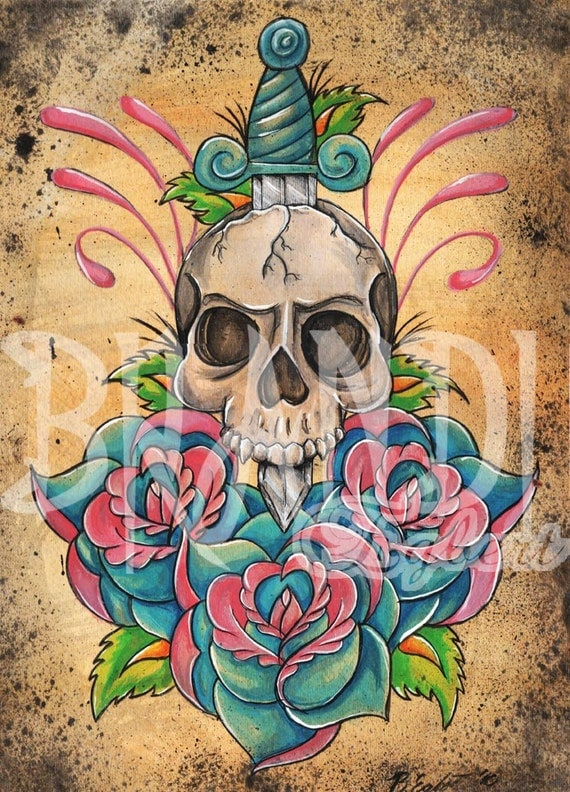 Traditional Skull And Dagger Tattoo