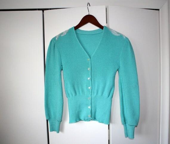 vintage CARDIGAN sweater SHOULDER BEADING seafoam green blue xs/s puff sleeves