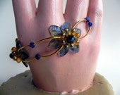 Cyber Monday Sale - Blue and Gold Flower Bracelet FREE SHIPPING