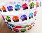 "Bright Cupcakes on white 3/8"" grosgrain ribbon"