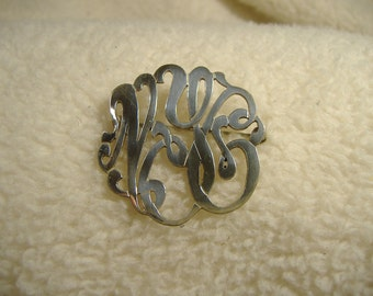 Vintage 1950's Sterling Silver Ornate Pin