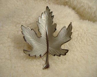 Vintage 1960s Frosted Leaf Brooch