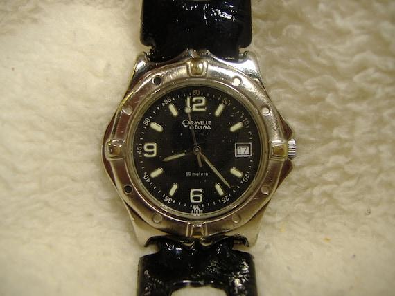 Vintage 1980s Bulova Caravelle Quartz Diver Calendar Watch