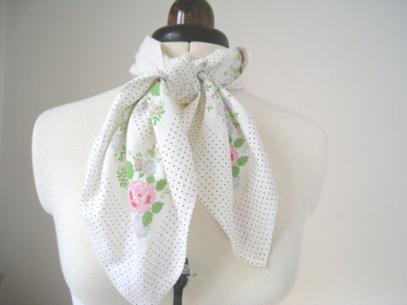 Vintage Scarf - Spring Flowers and Black Polka Dots - Softest Cotton