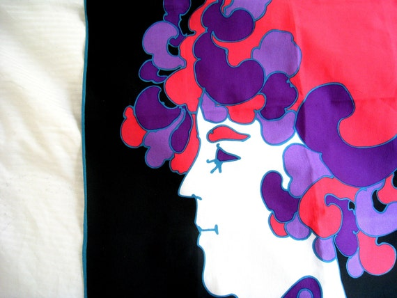 Vintage Peter Max Scarf - Psychedelic Wow Wow Woman - Neon Pinks and Purples