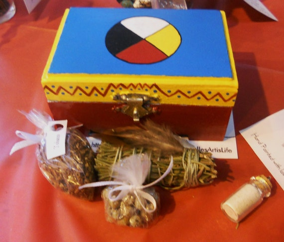 RESERVED for Sage Wood - Native American Style Mini Portable Prayer Box / Medicine Box