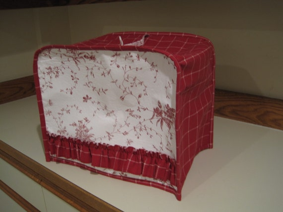 Red and White Floral Serger Cover
