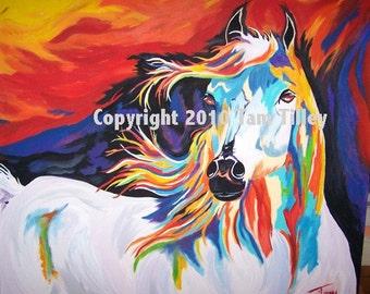 """Colorful White Horse Painting - """"White Horse of Revelation 19"""""""