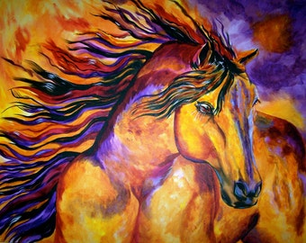 "Valiant Horse Painting - ""Phoenix Rising"""