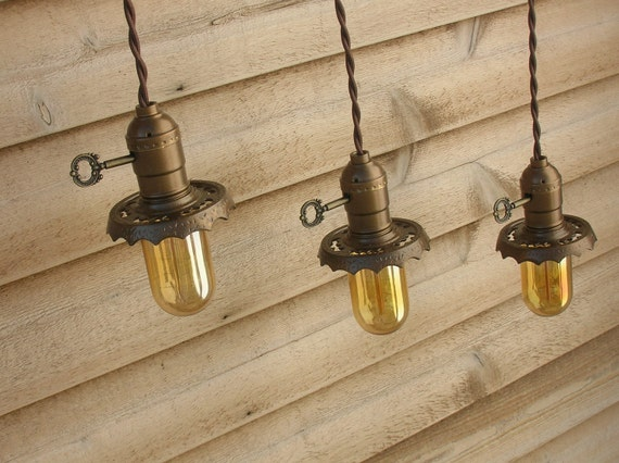 Pendant Light TRIO, Vintage Salvage Brass Minimalist Bare Bulb