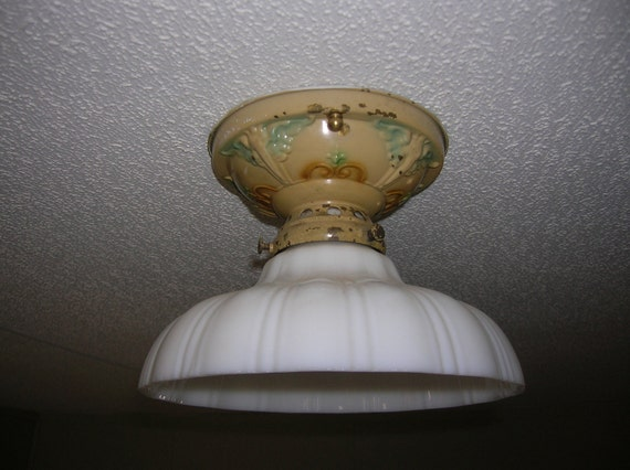 Vintage Flush Mount Ceiling Light with Milkglass Shade