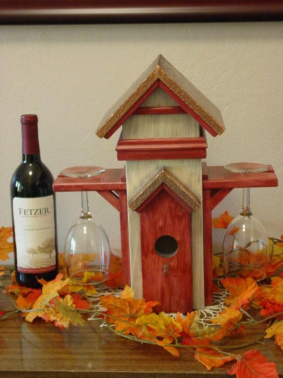 Wine Bottle & Glass Holder  Bird House Themed