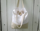 Linen Tote Bag in Oatmeal Flax and Off White