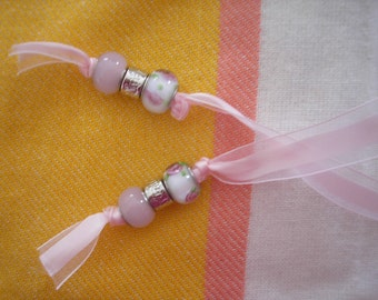 Bookmark Made of Ribbon & Beads Handmade Beaded Bookmark Pink Bookmark
