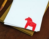 Swedish Dala Horse / Letterpress Printed Notecards / Set of 6