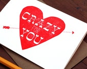 Crazy For You / Letterpress Printed Card
