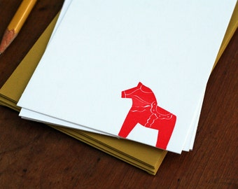 Swedish Dala Horse / Letterpress Printed Notecards / Set of 6