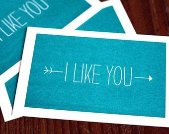 I Like You / Letterpress Printed Postcard