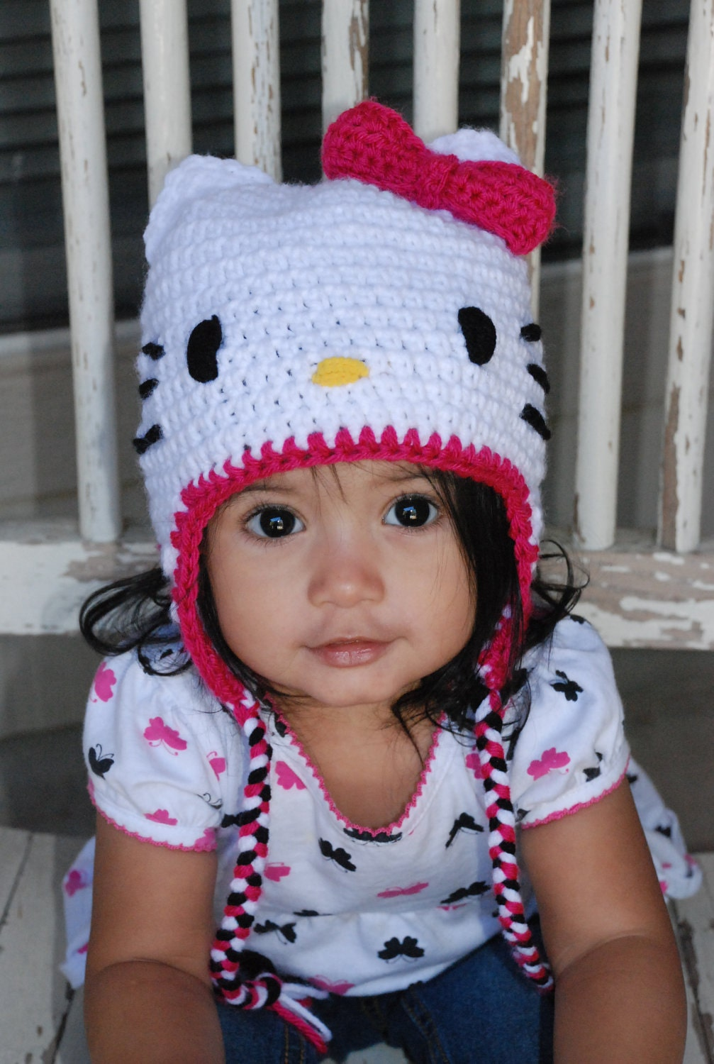 Hello Kitty Crochet Hat with earflaps and braids by ericsmaria