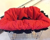 Ladybug Red w/ Black Polka Dots with Black Ruffle Shopping Cart Cover